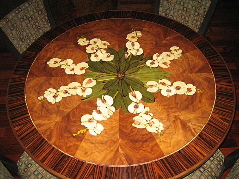 Orchid floral veneer art tabletop